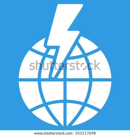 Global Shock vector icon. Style is flat symbol, white color, rounded angles, blue background. - stock vector