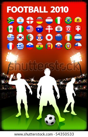 Global 2010 Soccer Match with Stadium Background Original Illustration - stock vector