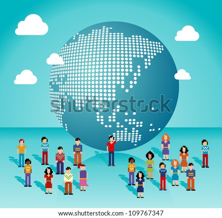 Global social media people network connection from Asia, Australia and Oceania map. Vector illustration layered for easy manipulation and custom coloring.
