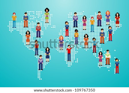 Global social media people network over World map. Vector illustration layered for easy manipulation and custom coloring. - stock vector