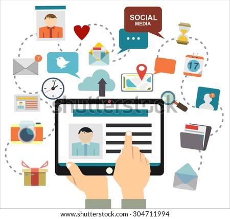 Global social network abstract scheme. - stock vector