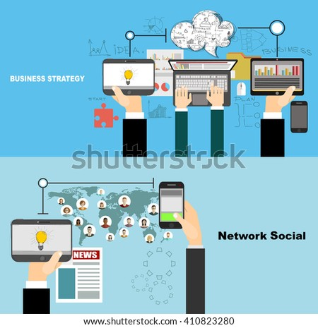 Global social network abstract scheme. Business analysis and planning, consulting, team work. Concepts web banner and printed materials.