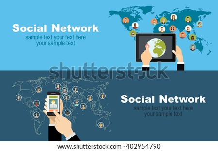 Global social network abstract scheme.Concepts web banner and printed materials. - stock vector