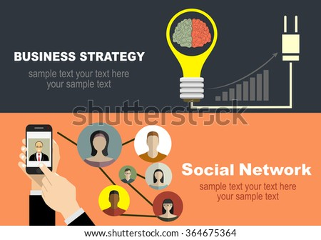 Global social network abstract scheme.Set of flat design illustration concepts for team work, analysis, strategy and planning, startup. Concepts for web banner and printed materials. - stock vector