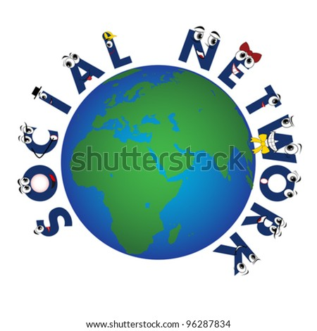 Global Social Network characters, vector - stock vector