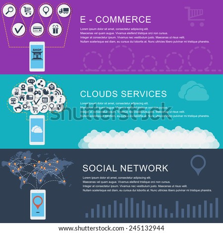 Global Social Network, clouds services, e-commerce. Flat design style modern vector illustration concept for web and infographic. Banners for websites. - stock vector