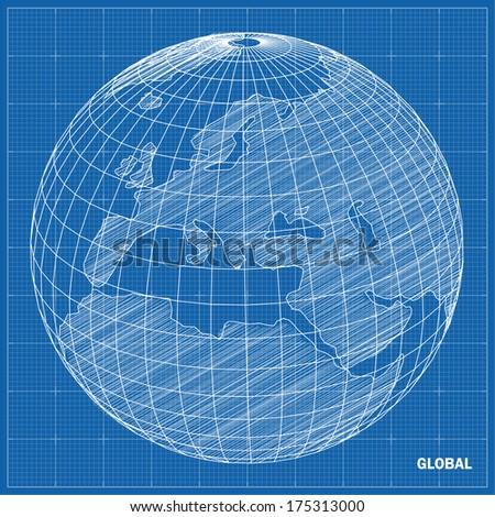 Global sphere blueprint. Vector illustration  - stock vector