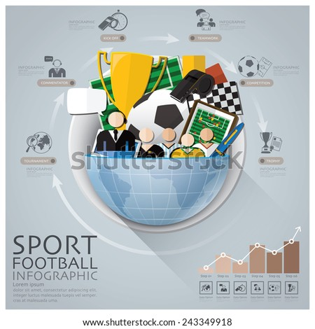 Global Sport Football Tournament Infographic With Round Circle Diagram Design Template - stock vector