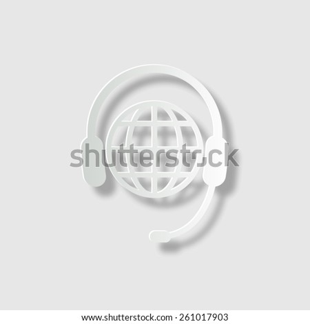 Global support or worldwide service - vector icon with shadow