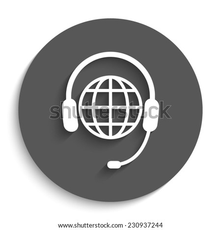 Global support or worldwide service - vector icon with shadow on a round grey button