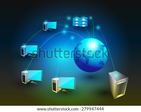 Global System integration on space background. This vector illustrates how the different systems like database web and enterprise systems are virtually connected worldwide - stock vector