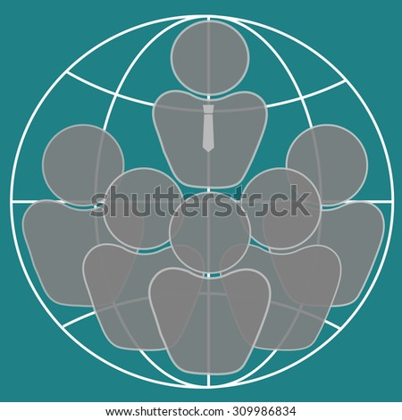 Global team of world business people as international human resources on earth background - stock vector