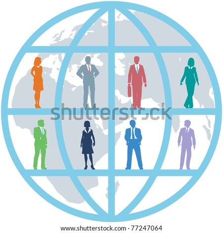 Global team of world business people as international human resources on map background - stock vector