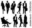 global team - vector silhouettes - stock vector