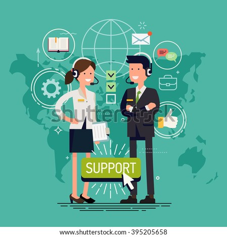 Global technical support vector concept design with support specialist and abstract world map. Online tech support illustration. Troubleshooting and maintenance department in business and industry - stock vector
