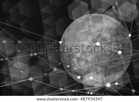 Global technology background-black