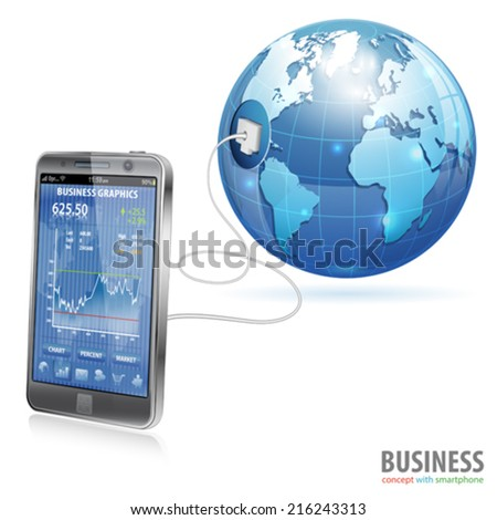 Global Technology Business Concept - Smartphone with Business Applications, vector isolated on white background