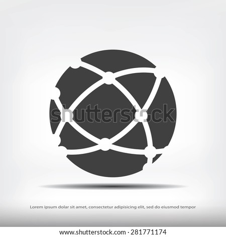 Global technology icon - stock vector