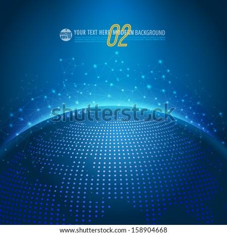Global technology mesh digital network with dot digital world map, vector illustration  - stock vector