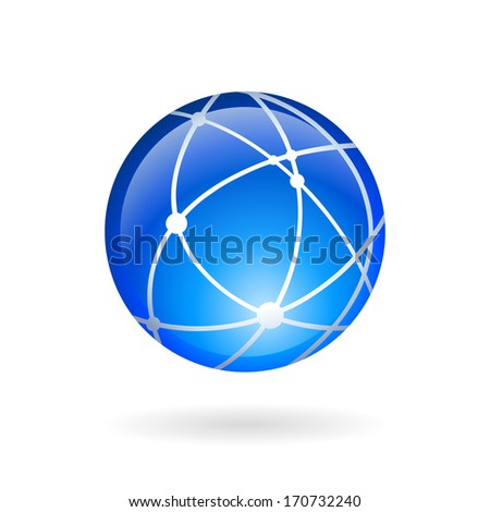 Global technology or social network icon isolated vector illustration - stock vector