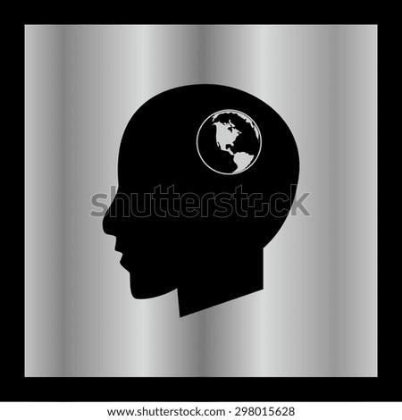 Global technology or social network icon, Modern man vector illustration. Flat design style.. - stock vector