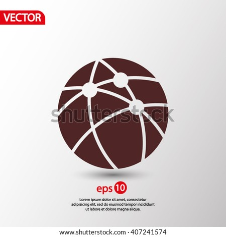 Global technology or social network  icon, vector illustration.  - stock vector