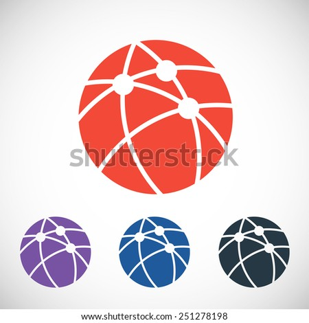 Global technology or social network  icon, vector illustration. Flat design style