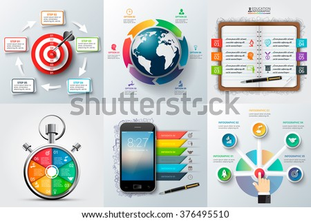 Global, timeline, education, business and mobile infographic templates. Can be used for workflow layout, diagram, business step options, banner, web design. - stock vector