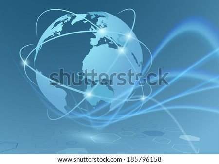 Global trade connections travel communication relations - earth globe with transparent swoosh waves abstract futuristic background. Vector illustration - stock vector