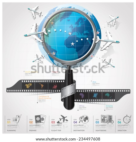 Global Travel And Journey Continent Infographic With Magnifying Glass Film Spiral Design Template - stock vector
