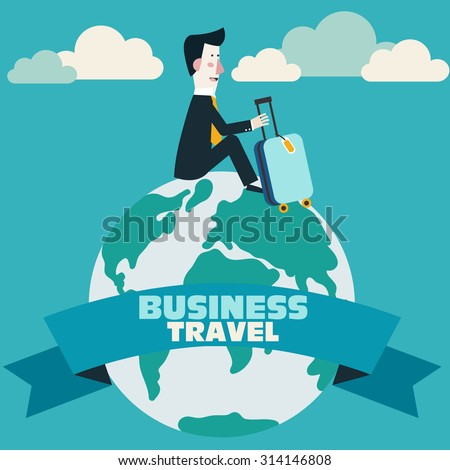 Global travel and journey modern illustration. International business travel and adventure vector concept. Businessman with suitcase on globe earth with ribbon. Background with blue sky and clouds.  - stock vector