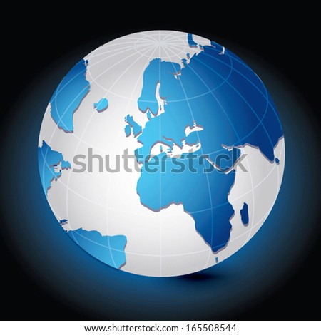 Global, Vector illustration of Global map in Africa, Middle East and European continents view. - stock vector