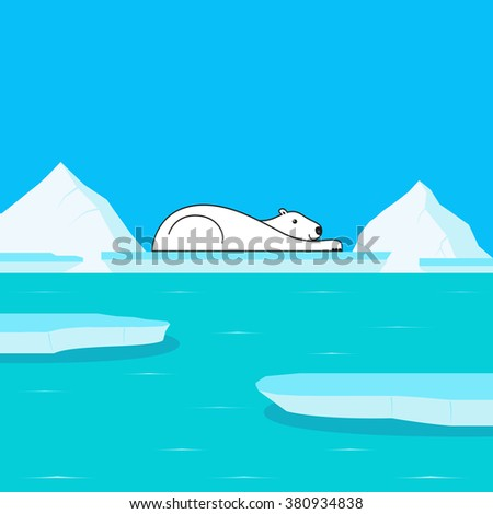 Global Warming and Polar Bear on Glacier - stock vector