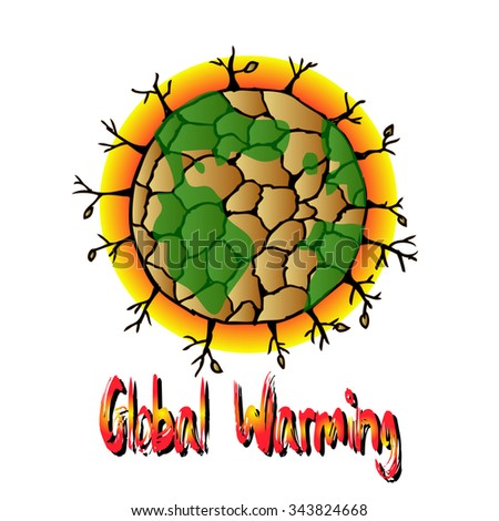 Global warming and sign illustration - stock vector