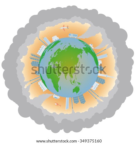 Global warming and various building, image illustration - stock vector