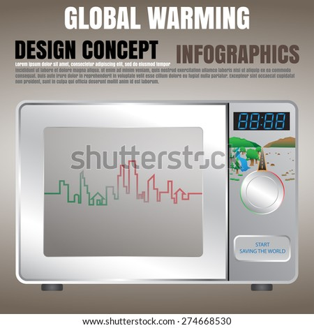 Global warming concept presented by microwave oven, info-graphics, EPS10 vector illustration - stock vector