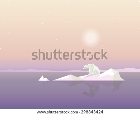 Global warming concept vector illustration with polar bear sitting on the melting iceberg in the middle of the ocean - stock vector