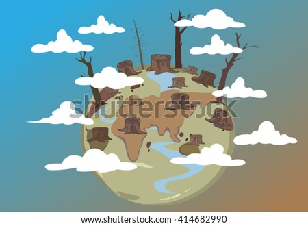 global warming conception.drought land - stock vector