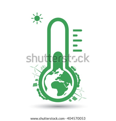 Global Warming, Ecological Problems and Solutions - Thermometer Icon Design Concept