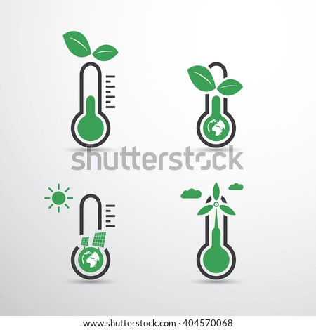 Global Warming, Ecological Problems And Solutions - Thermometer Icon Designs - stock vector