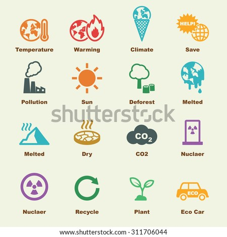 global warming elements, vector infographic icons - stock vector