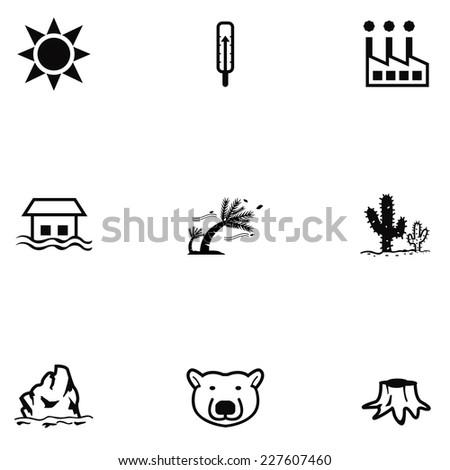 global warming icon set - stock vector
