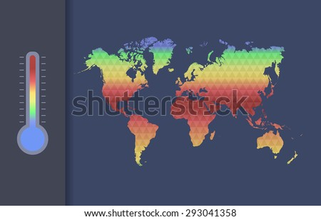 Global warming vector concept. Global climate map of the world. - stock vector