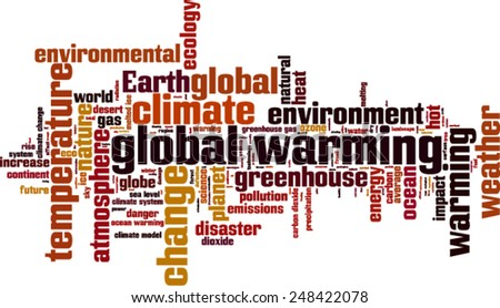 Global warming word cloud concept. Vector illustration - stock vector