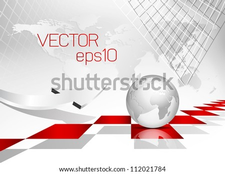 Global world map background - globe - abstract corporate brochure design - stock vector