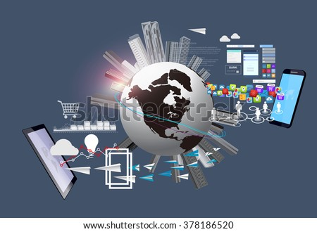 Globalization. Global business and technology around the world. World and Technology. Globalization and Technology. Technology and Communications. - stock vector