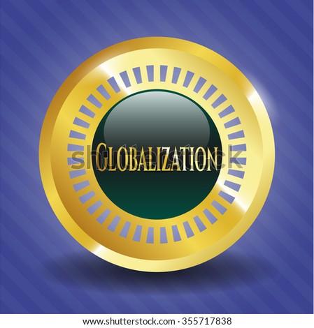 Globalization shiny emblem - stock vector