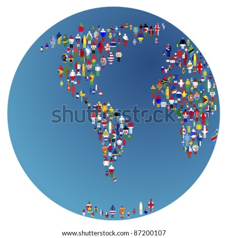 Globalizing, Earth globe with people made of flags of the world - stock vector