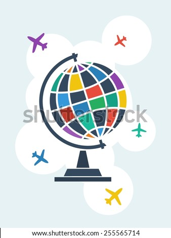 Globe and airplanes. Vector illustration.  - stock vector