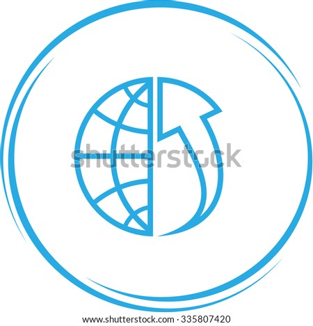 globe and array up. Internet button. Vector icon. - stock vector